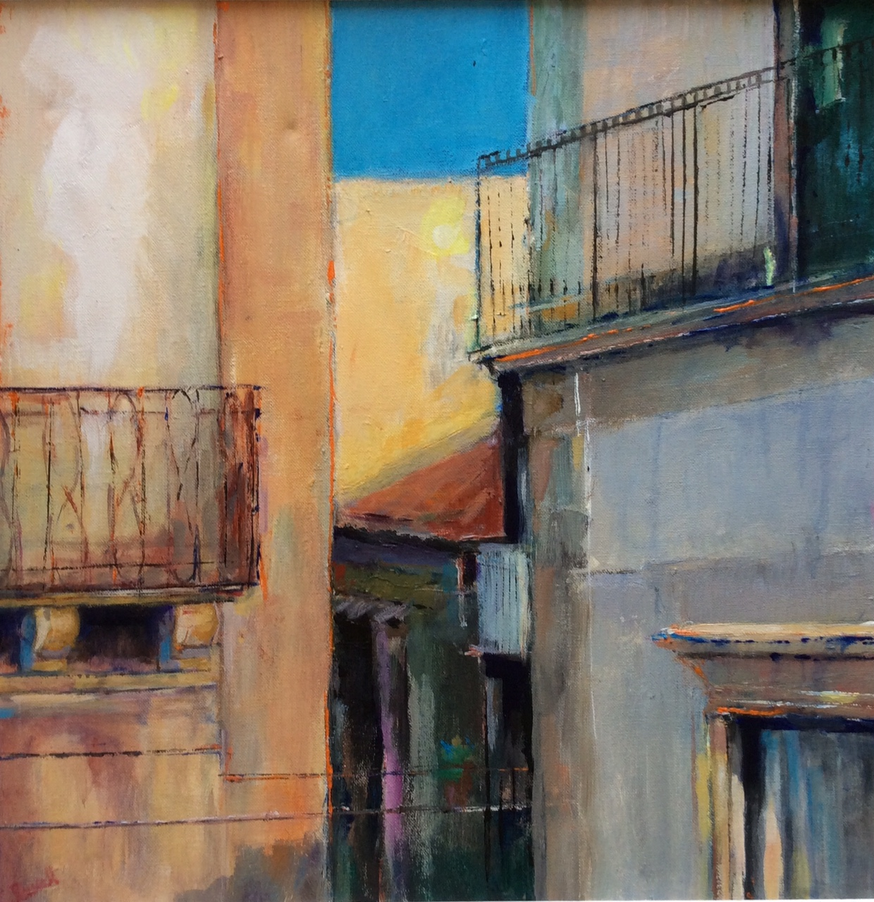 View from the terrace, Noto, Sicily - acrylic on canvas