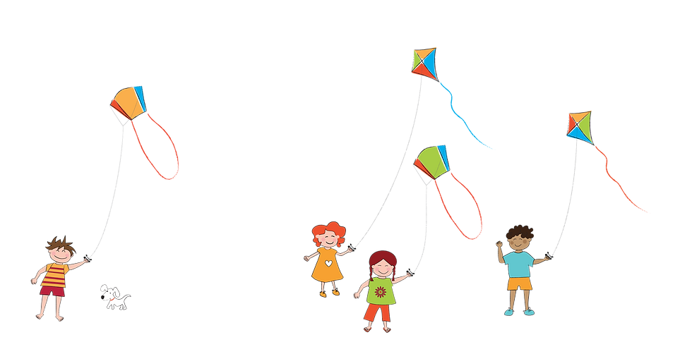 Illustration of kids playing with diamond and sled kites