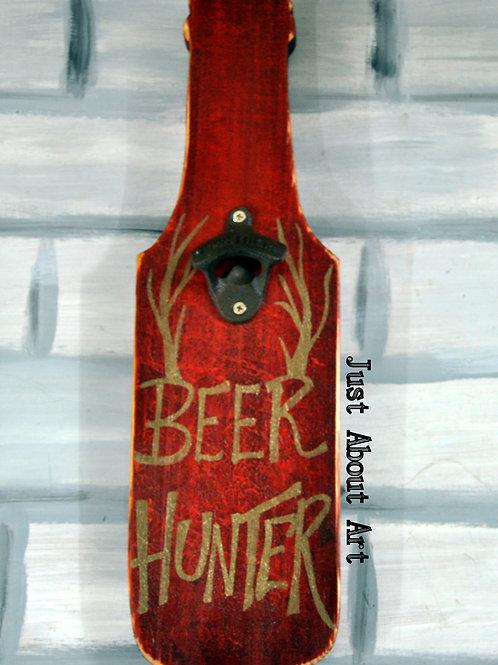 Bottle Shaped Wood Art Bottle Opener - Beer Hunter (Distressed Red and Gold)