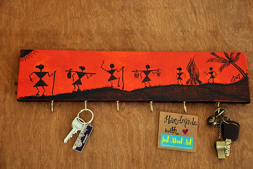 Wooden Key Holder - Warli Art (Red)