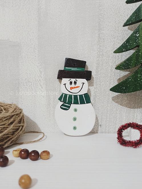 Snowman Wooden Christmas Ornament