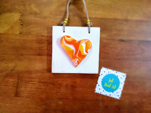 Abstract Heart on Wooden Block - Shades of Yellow Orange Red and White