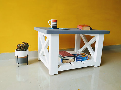 Classic Solid Wood Coffee Table - White ans Grey