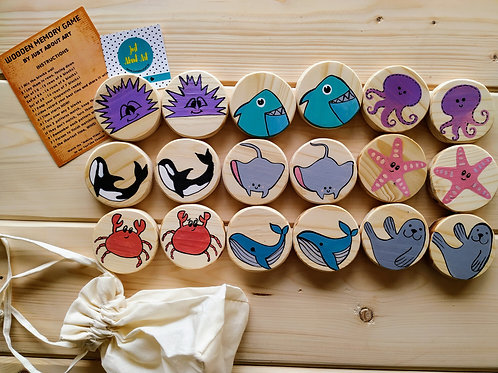 Wooden Memory Game - Sea Animals theme