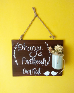 Customized Name Board with Mason Jar and Flowers