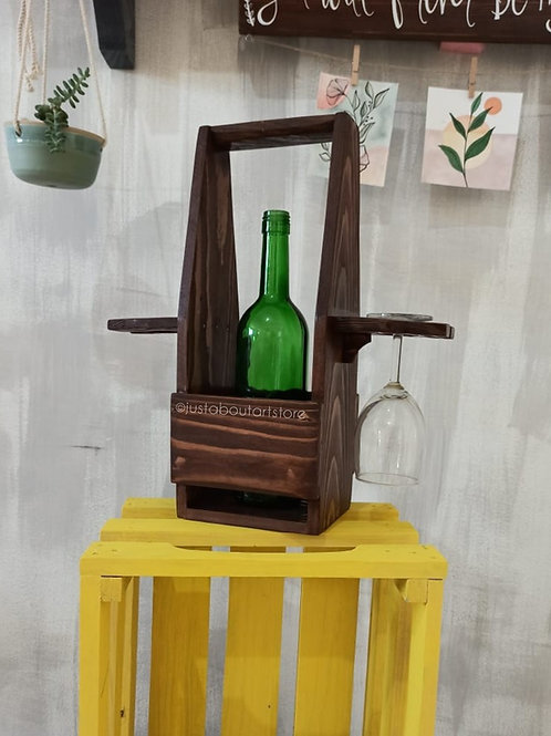 Wooden Wine and Glass Holder - Vintage Brown