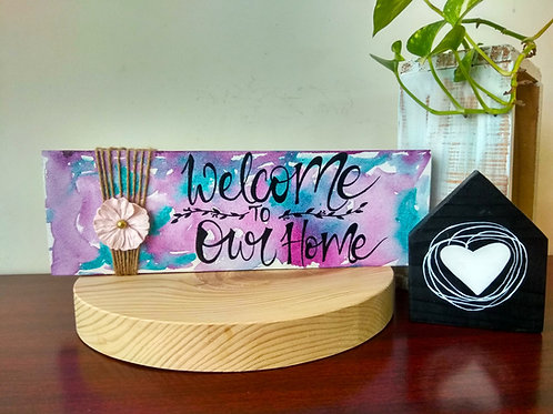 Wood Art with Jute Flower - Welcome to Our Home
