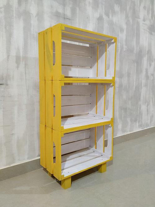 Wooden Crate Bookshelf (3pc) - Yellow and White