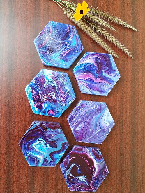 Acrylic Pour Wooden Hexagon Coasters - Set of 6 (Galaxy theme)