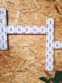 Goan Inspired Tiled theme Scrabble Name Board
