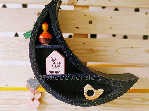 Wooden Cresent Moon Shelf