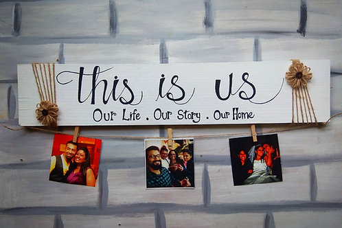 """Wooden Photo Clipper - This is us (5x24"""")"""
