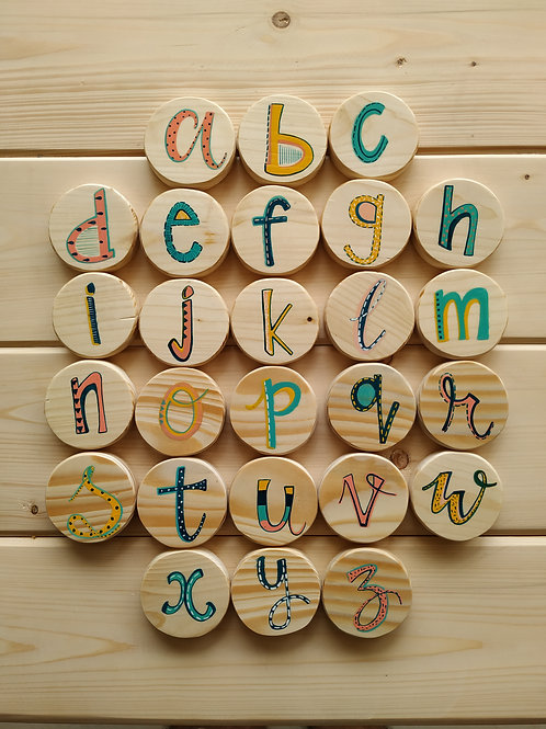 Alphabets A-Z on Wooden Blocks for Kids
