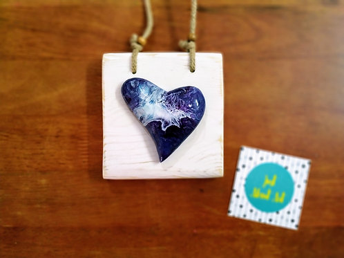 Abstract Heart on Wooden Block - Shades of Teal, Purple, Blue and White