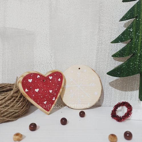 Heart Wooden Christmas Ornament