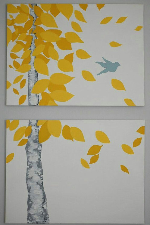 2 Pc Canvas Painting - Autumn