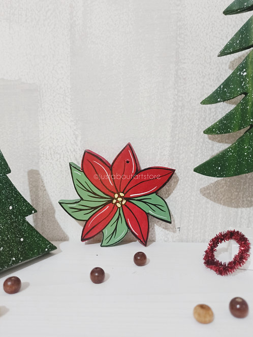 Poinsettia Wooden Christmas Ornament