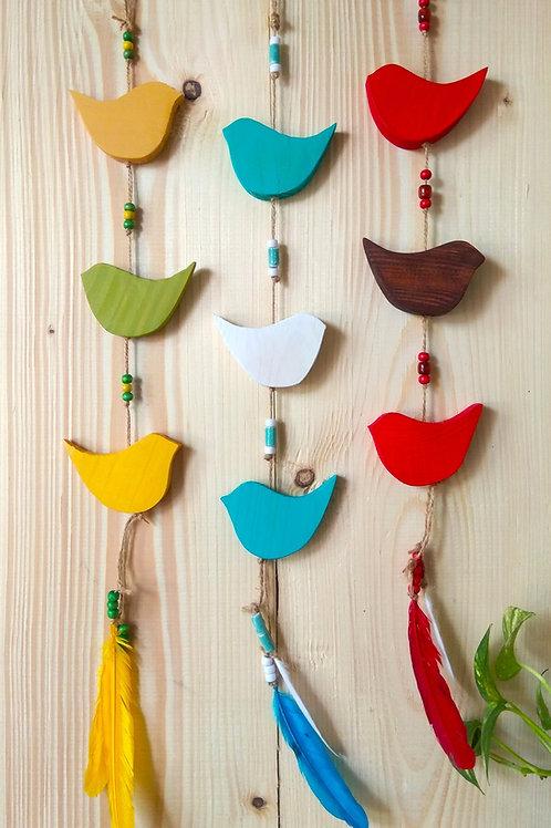 Wooden Decorative Bird Chime - Multicolour
