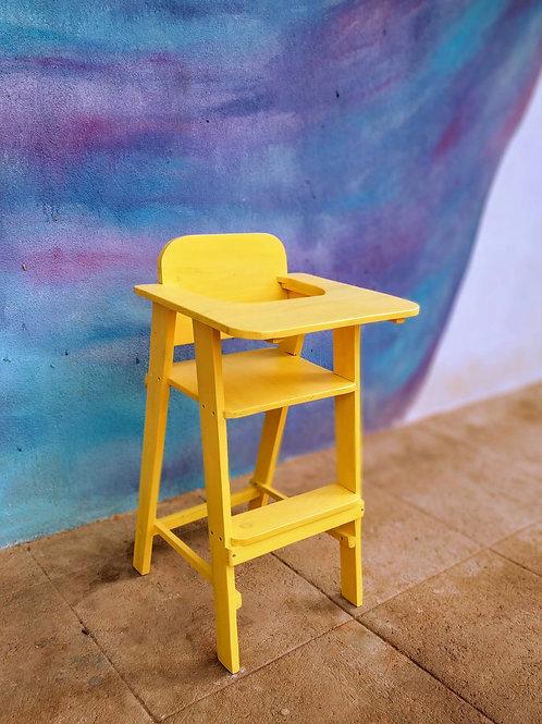Wooden High Chair for Kids - Lemon Yellow