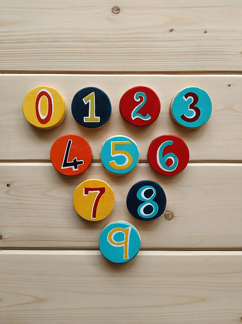 Numbers 0-9 on Wooden Blocks for Kids