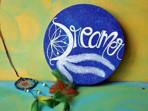 """Circular Wood Art 8"""" -  Dreamer (White on Galaxy effect)"""