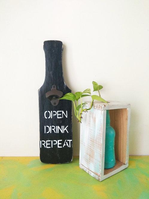 Bottle Shaped Bottle Opener - Open Drink Repeat (Stencil Effect)
