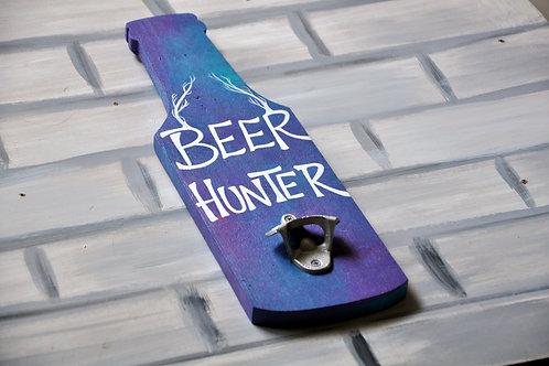 Bottle Shaped Wood Art Bottle Opener - Beer Hunter (Purple and White)