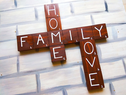 Hand Painted Scrabble Wood Art - Home Family Love