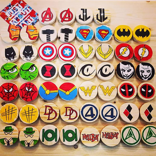 Wooden Memory Game - Superhero Theme