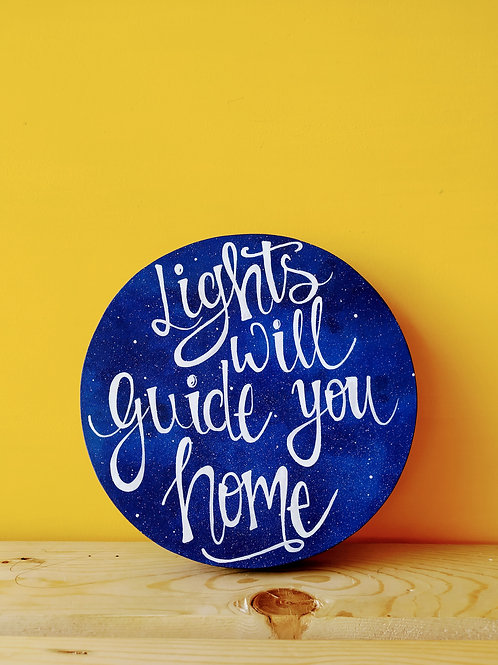Circular Wood Art - Lights will guide you home (Purple and White)