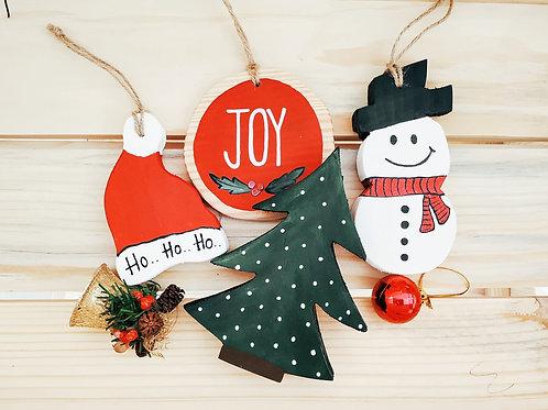 Christmas Ornaments Set of 4 - Santa Hat, Joy, Christmas Tree and Snowman