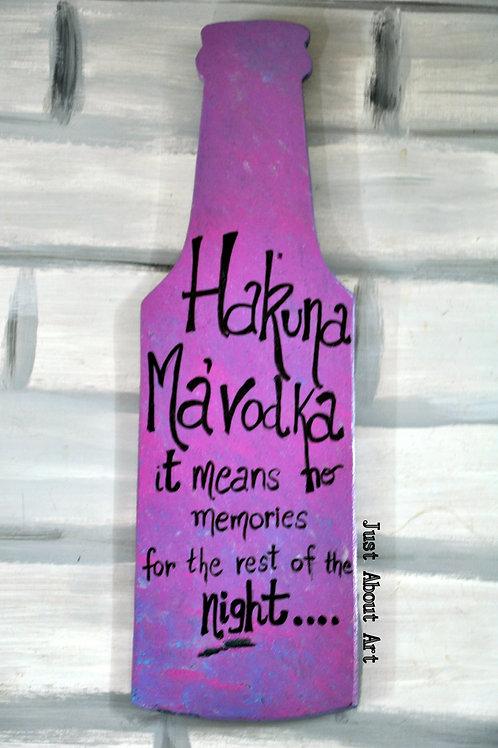 Bottle Shaped Wood Art - Hakuna Mavodka (Purple and Black)