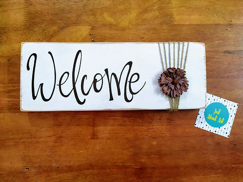 Wooden Welcome Board with Jute Flower