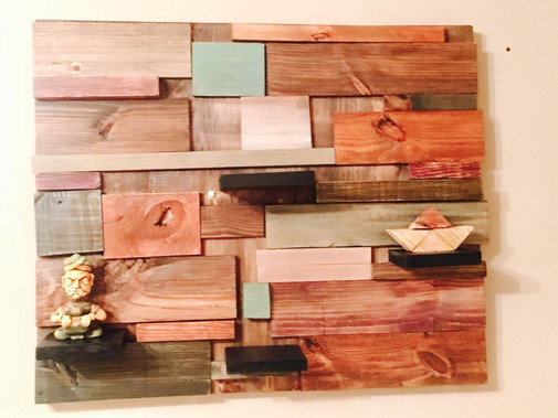 Infused Wood Art with Shelves