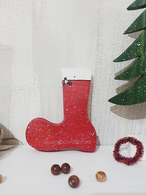 Santa Boots Wooden Christmas Ornament