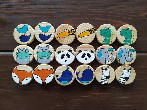 Wooden Memory Game - Animal Theme