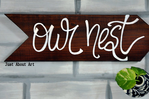 Arrow Shaped Wood Art - Our Nest (Vintage Brown)