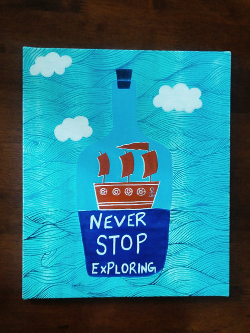 """Never Stop Exploring Canvas Painting - 12""""x16"""""""
