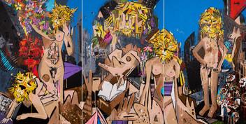 The Lions Den - triptych 152 x 102cm each canvas - 2016