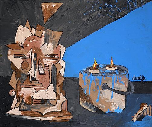 Still life Portrait, blue paint, candle and key