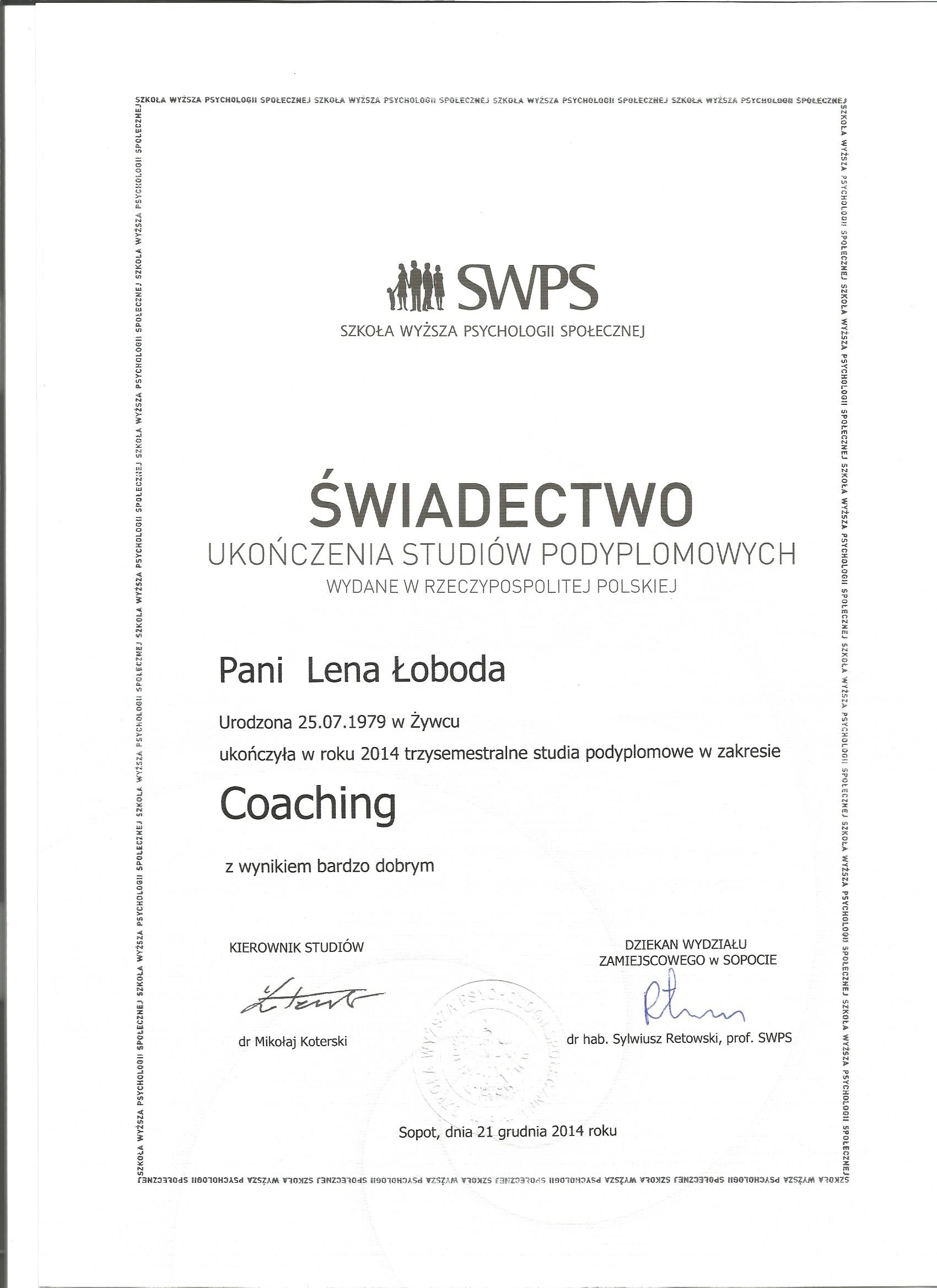 SWPS Coaching dyplom