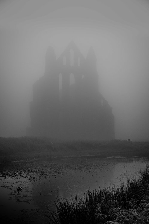 foggy abbey canvas