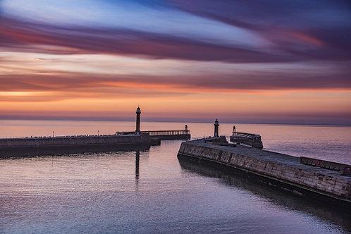 sun set piers canvas