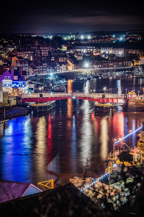 whitby harbour and bridge  print