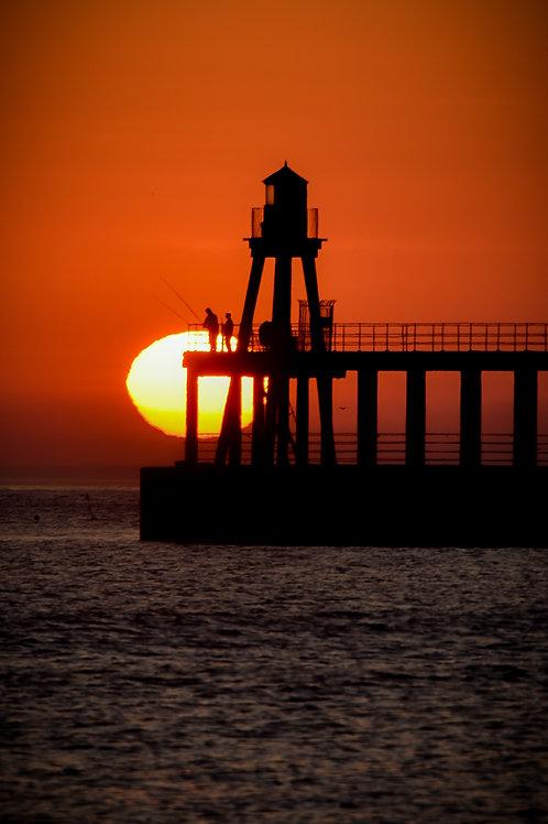 pier sun rise print