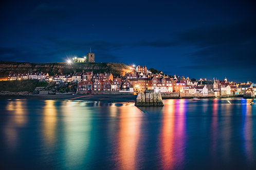 Whitby by night light print