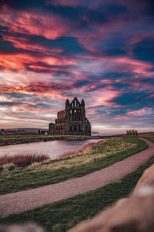 WHITBY ABBEY RED SKY PRINT