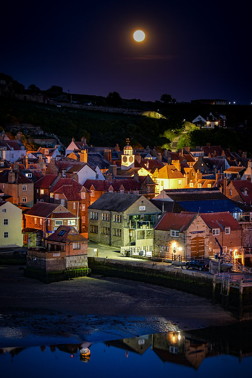 moon lit whitby canvas