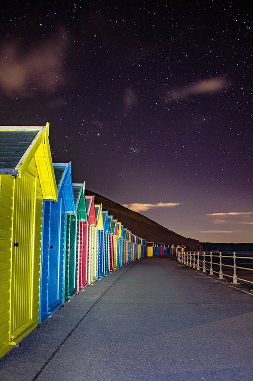 Beach huts under the stars canvas