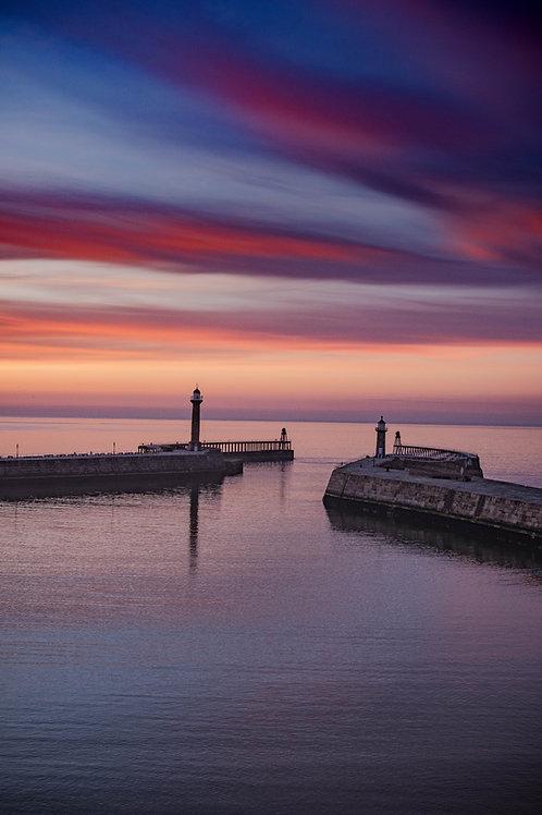 pier sun set canvas